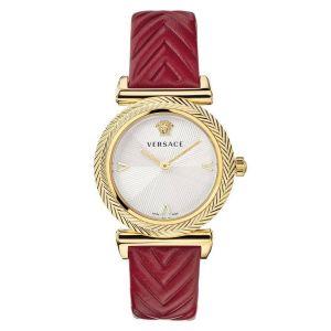 Versace V-Motif Mặt Tròn Trắng Viền Vàng Dây Da Đỏ VERE01820