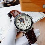 Citizen Brycen Chronograph Mặt Trắng Dây Da Màu Nâu CA0649-06X