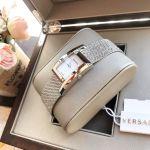 Versace Greca Icon Mặt Chữ Nhật Màu Trắng Dây Kim Loại Màu Bạc VELU00519