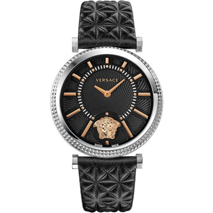 Versace V-Helix Mặt Đen Viền Bạc Dây Da Trần Trám Màu Đen VQG020015