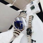 Bulova Set Diamond Couple Watch Mặt Xanh Dây Kim Loại Màu Bạc 96X151