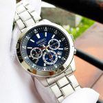Seiko Chronograph Mặt Xanh Dây Kim Loại Màu Bạc SKS603P1