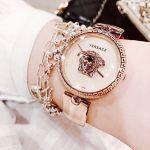 Versace Palazzo Empire Mặt Tròn Dây Kim Loại Màu Vàng Hồng VCO110017