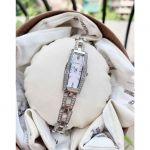 Bulova Crystal Mặt Trữ Nhật Khảm Trai Màu Hồng Dây Kim Loại Màu Bạc 96L208