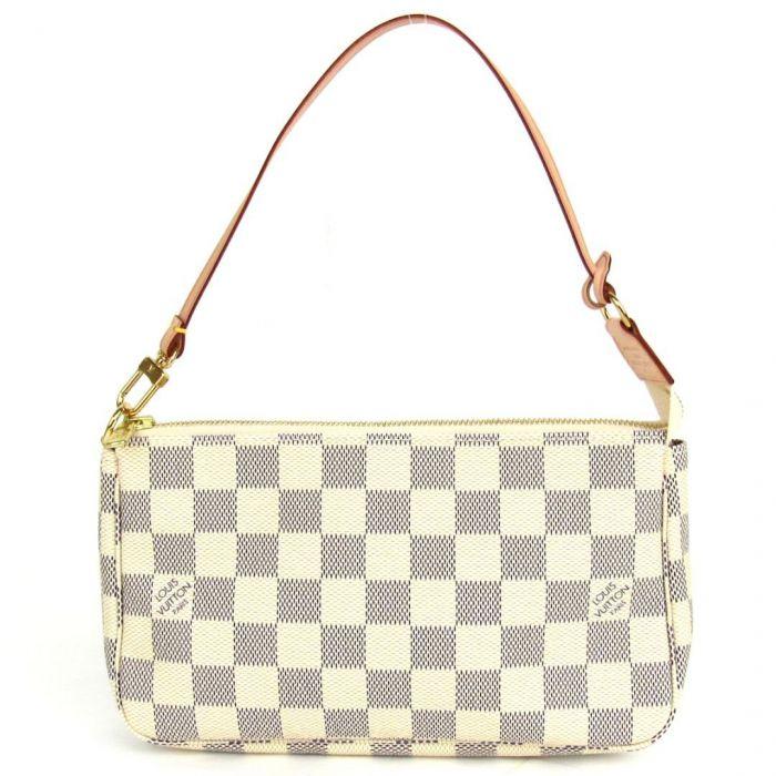 Louis Vuitton Pochette Accessoires Kẹp Nách Màu Trắng Damier Azur Canvas N41207