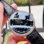 Frederique Constant Slimline Automatic Moon Phase Mặt Tròn Viền Bạc Dây Da Màu Đen FC-701BSD3SD6