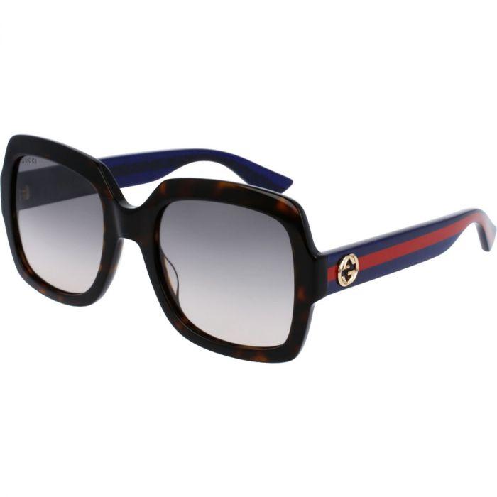 Gucci Havana Sunglasses Mắt Vuông Màu Xám Gọng Nhựa Kẻ Sọc Xanh Đỏ GG0036S 004  54