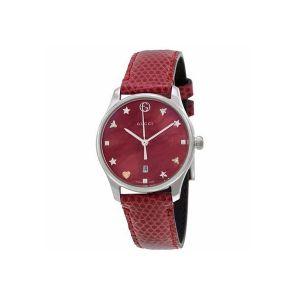 Gucci G-Timeless Mặt Tròn Dây Da Đỏ YA126584