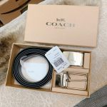Coach Plaque Harness Cut-To-Size Reversible Belt 2 Mặt 2 Màu Dây F65185