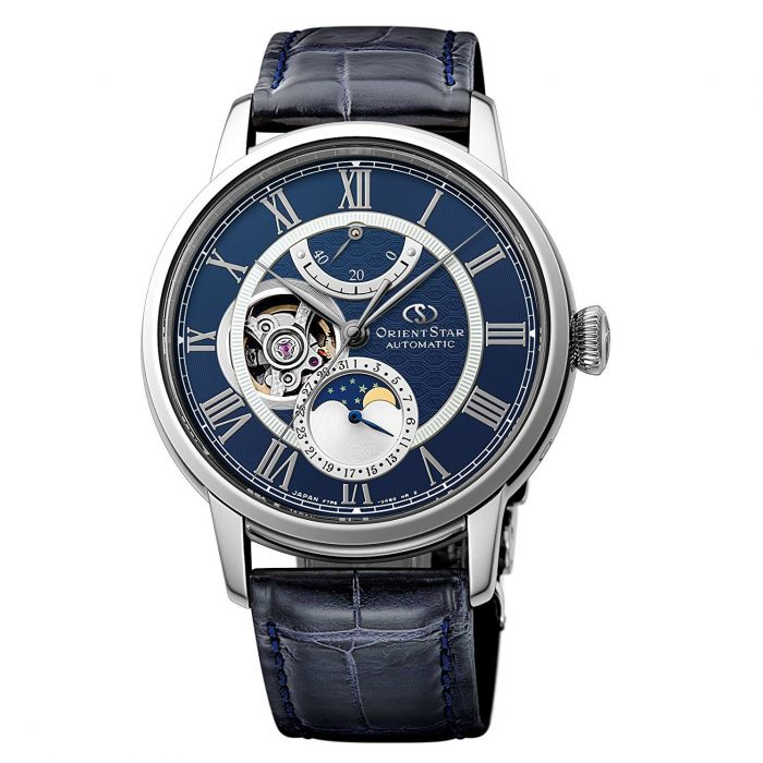 Orient Star Moonphase Dây Da Xanh Mặt Xanh Blue RE-AM0002L