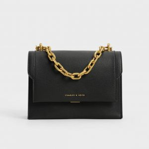 Charles & Keith Front Flap Chain Handle Crossbody Bag