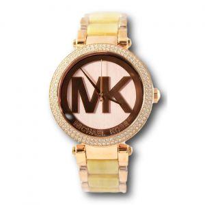 Michael Kors Parker Mặt Tròn Dây Kim Loại Màu Vàng Hồng MK6530