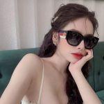 Gucci Grey Gradient Cat Eye Gọng Sọc Viền Đen Mắt Xám GG0276S 001