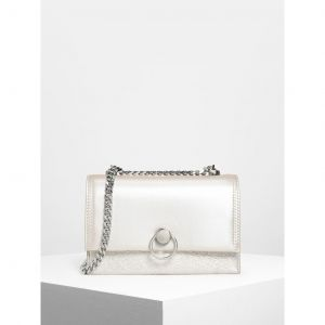 Charles & Keith Metallic Ring Push Lock Màu Pearl CK2-20780807