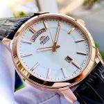 Orient Automatic Day Date Mặt Trắng Viền Vàng Dây Da Nâu FEV0U002WH