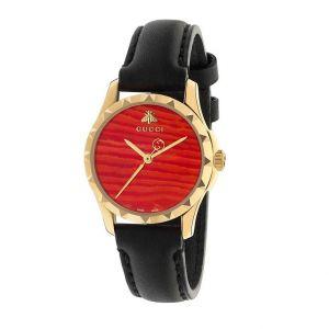 Gucci G-Timeless Quartz Mặt Tròn Dây Da Đen YA126556