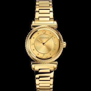 Versace V-Motif Quartz Mặt Tròn Dây Kim Loại Vàng VERE00618