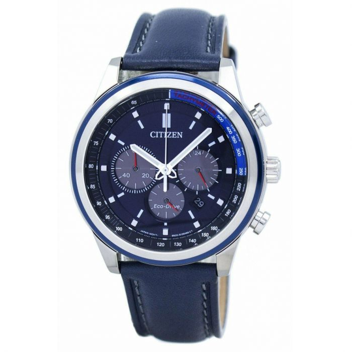 Citizen Eco-drive Chronograph Dây Da Xanh Navy CA4031-07L