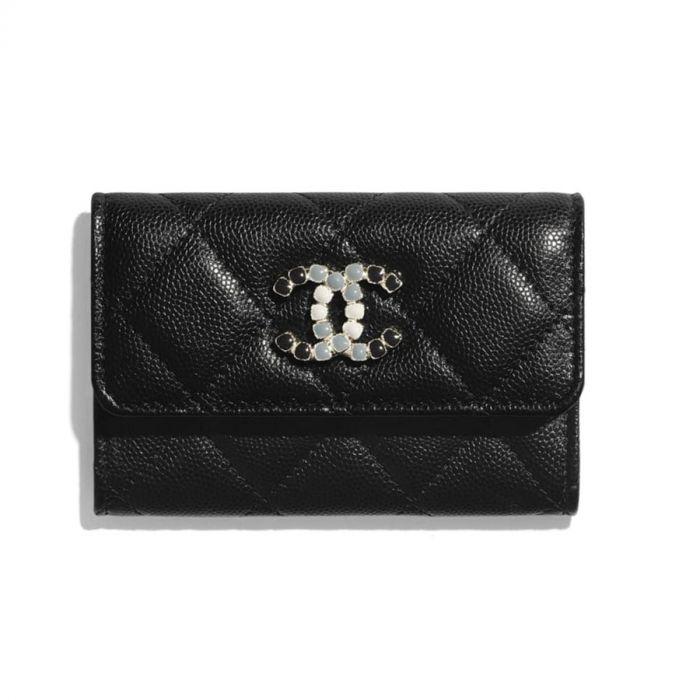 Chanel Flap Card Holder Trần Trám Màu Đen Logo Đá Màu AP2038