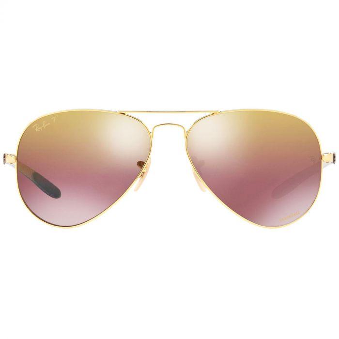 Ray-ban Polarized Purple Mirror Chromance Gọng Kim Loại Màu Vàng RB8317CH 001/6B 58