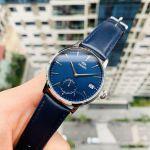 Orient Contemporary Mặt Tròn Viền Bạc Dây Da Màu Xanh Lịch Ngày RA-SP0004L