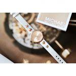 Michael Kors Portia Mặt Tròn Màu Vàng Hồng Dây Da Màu Trắng MK2728