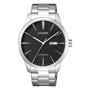 Citizen Elegant Automatic Mặt Tròn Màu Đen Dây Kim Loại Màu Bạc Lịch Ngày Thứ NH8350-83E