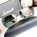 Ray-ban Sunglasses Mắt Vuông Màu Xanh Gọng Kim Loại Màu Vàng RB3610 001/71 58