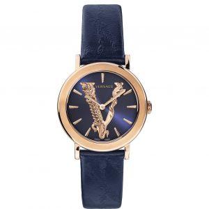 Versace Virtus Quartz Mặt Tròn Dây Da Xanh VEHC00419