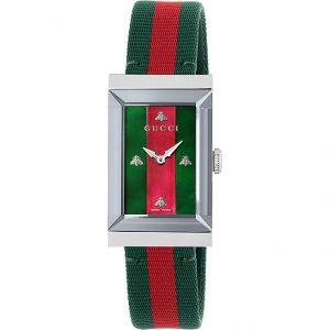 Gucci G-Frame Quartz Mặt Chữ Nhật Dây Nato YA147404