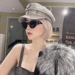 Christian Dior Catstyle Dior1 Mắt Xanh Gọng Đen Pha Kim Loại