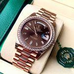 Rolex Day Date 40 Automatic Diamond Mặt Nâu Dây Màu Vàng 18K 228345