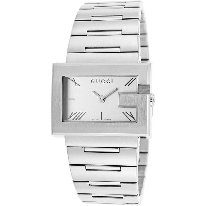 Gucci G-Watch Mặt Chữ Nhật Dây Kim Loại Màu Bạc YA100506