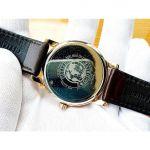 Citizen Eco Drive Mặt Tròn Màu Trắng Viền Vàng Hồng Dây Da Màu Nâu Lịch Ngày BM6753-00A