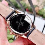 Frederique Constant Chronograph Mặt Tròn Viền Vàng Hồng Dây Da Màu Đen Lịch Ngày FC-292MB5B4