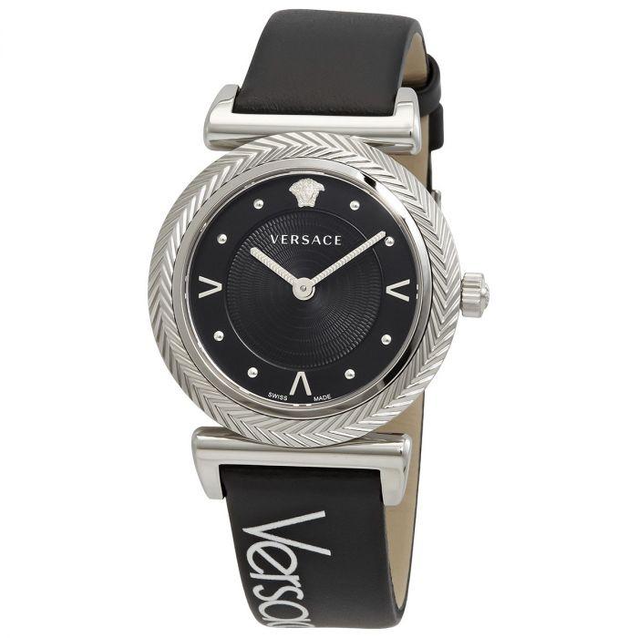 Versace V-Motif Mặt Tròn Viền Bạc Dây Da Màu Đen VERE00918