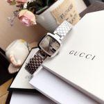 Gucci G-Gucci Mặt Chữ Nhật Màu Nâu Dây Kim Loại Màu Bạc YA125516