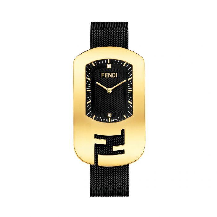 Fendi Chameleon Mặt Chữ Nhật Viền Vàng Dây Kim Loại Màu Đen F340431000D1