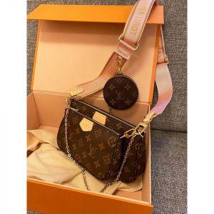 Louis Vuitton Multi Pochette Accessoires Màu Nâu Quai Xách Màu Hồng M44840