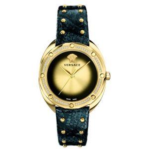 Versace Shadov Diamond Mặt Màu Vàng Dây Da Màu Đen Gắn Đinh Tán VEBM01118